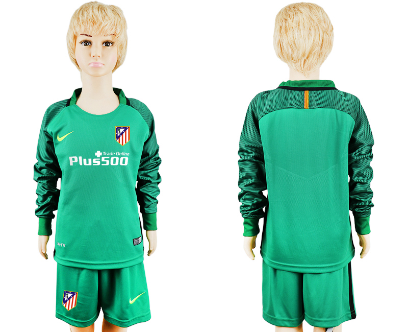 2016-17 Atletico Madrid Green Youth Goalkeeper Long Sleeve Soccer Jersey