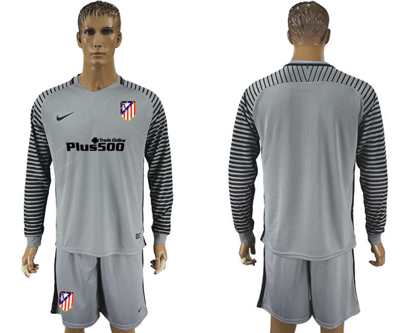 2016-17 Atletico Madrid Grey Goalkeeper Long Sleeve Soccer Jersey