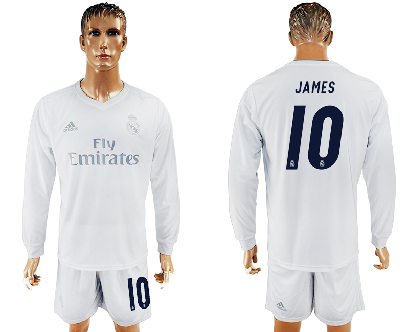 2016-17 Real Madrid 10 JAMES adidas x Parley Home Long Sleeve Soccer Jersey