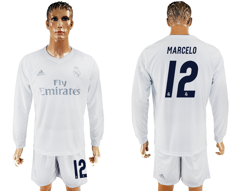 2016-17 Real Madrid 12 MARCELO adidas x Parley Home Long Sleeve Soccer Jersey