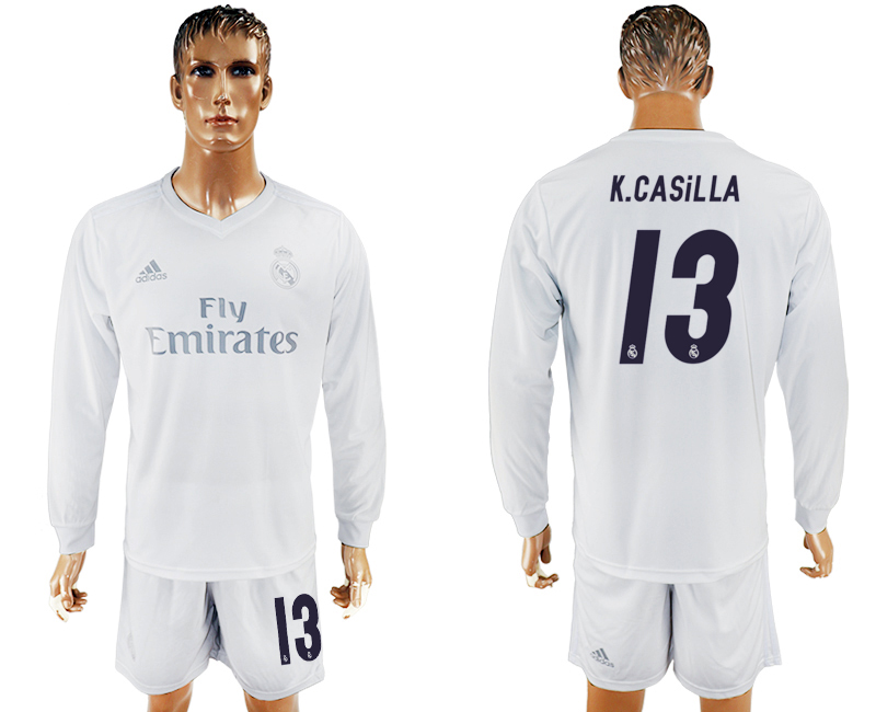 2016-17 Real Madrid 13 K.CASILLA adidas x Parley Home Long Sleeve Soccer Jersey