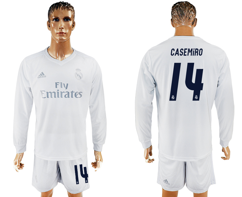 2016-17 Real Madrid 14 CASEMIRO adidas x Parley Home Long Sleeve Soccer Jersey