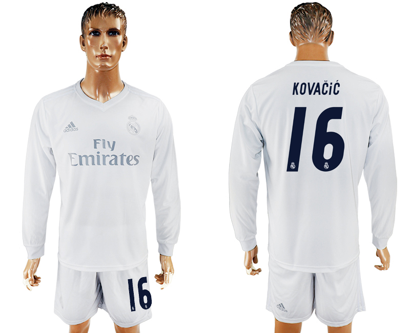 2016-17 Real Madrid 16 KOVACIC adidas x Parley Home Long Sleeve Soccer Jersey