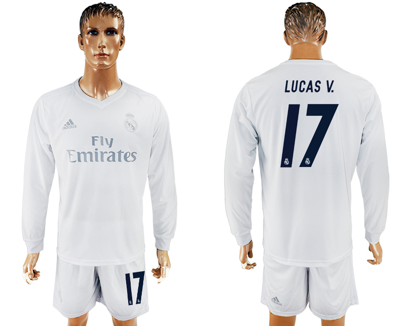 2016-17 Real Madrid 17 LUCAS V. adidas x Parley Home Long Sleeve Soccer Jersey