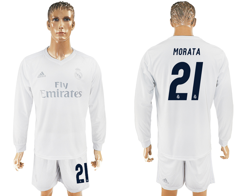 2016-17 Real Madrid 21 MORATA adidas x Parley Home Long Sleeve Soccer Jersey