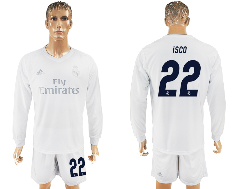 2016-17 Real Madrid 22 ISCO adidas x Parley Home Long Sleeve Soccer Jersey