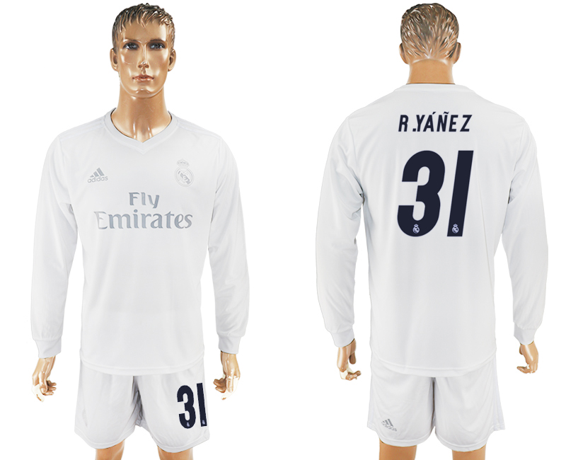 2016-17 Real Madrid 31 R.YANEZ adidas x Parley Home Long Sleeve Soccer Jersey