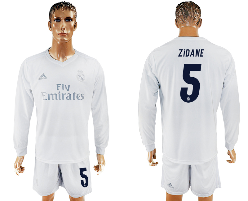 2016-17 Real Madrid 5 ZIDANE adidas x Parley Home Long Sleeve Soccer Jersey