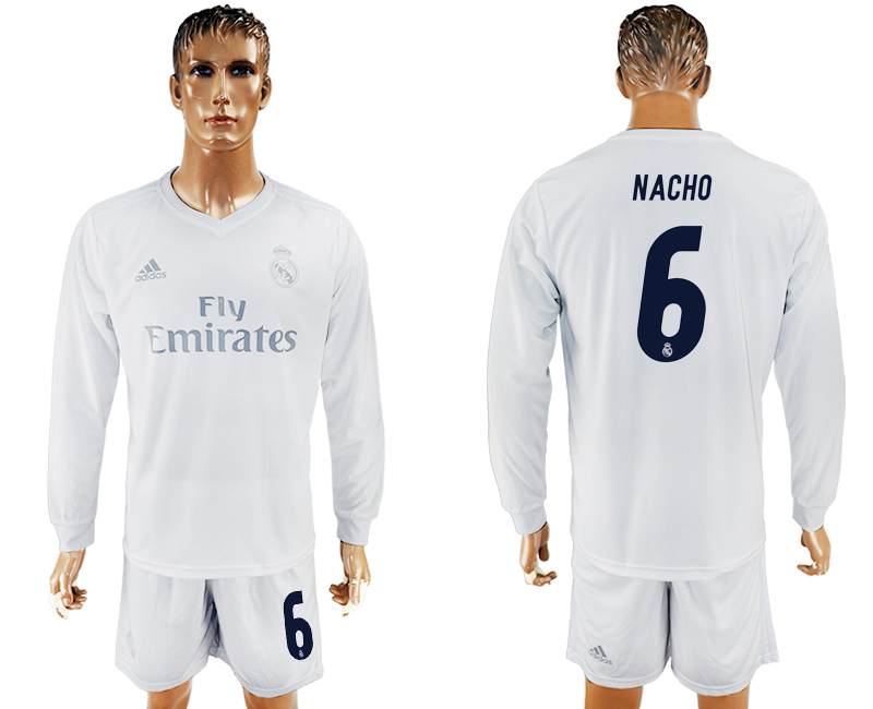 2016-17 Real Madrid 6 NACHO adidas x Parley Home Long Sleeve Soccer Jersey