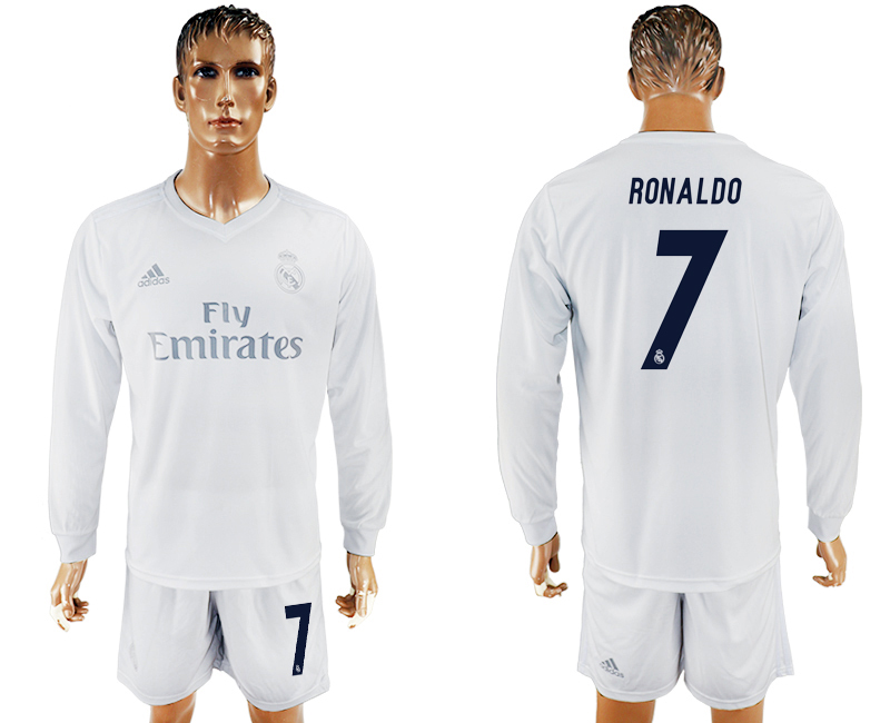 2016-17 Real Madrid 7 RONALDO adidas x Parley Home Long Sleeve Soccer Jersey