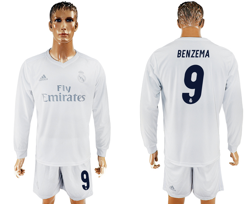 2016-17 Real Madrid 9 BENZEMA adidas x Parley Home Long Sleeve Soccer Jersey