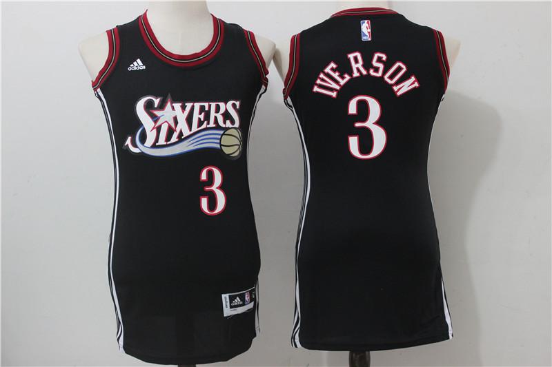 76ers 3 Allen Iverson Black Women Throwback Swingman Jersey