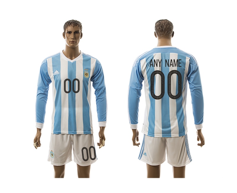 2016-17 Argentina Home Customized Long Sleeve Jersey