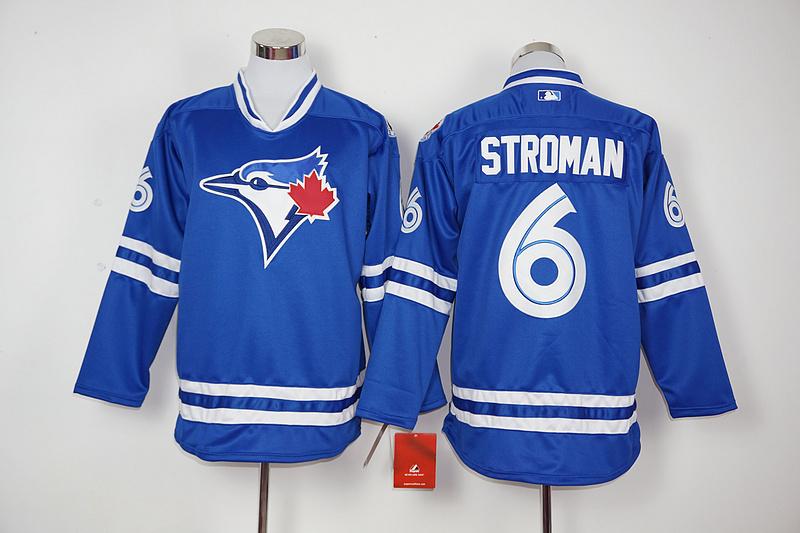 Blue Jays 6 Marcus Stroman Blue Long Sleeve Jersey