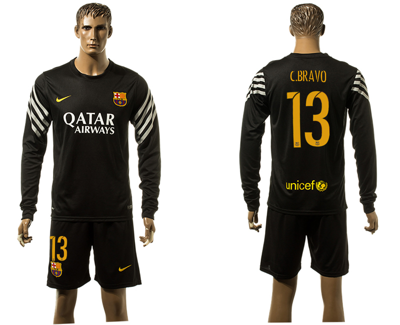 2015-16 Barcelona 1 TER STEGEN Black Goalkeeper Long Sleeve Soccer Jersey