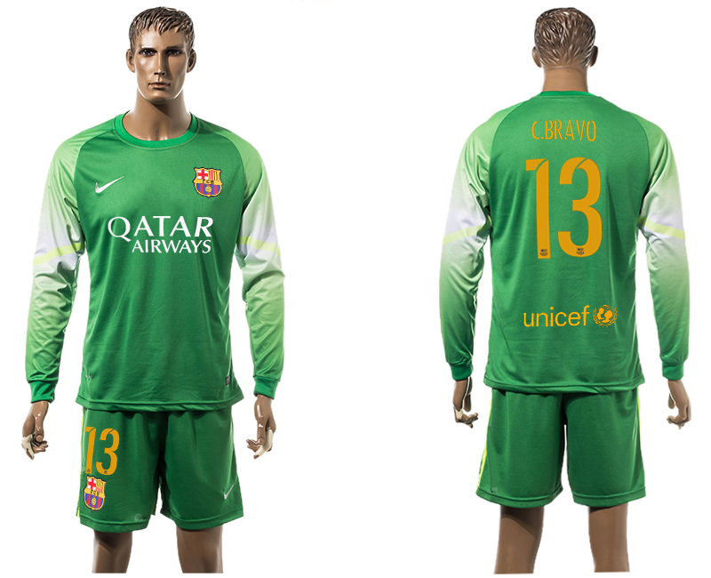 2015-16 Barcelona 13 C.BARVO Goalkeeper Long Sleeve Soccer Jersey