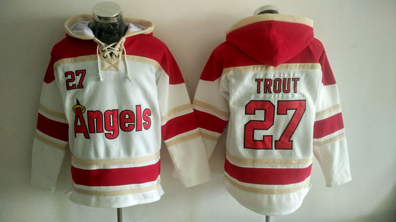 Angels 27 Mike Trout White All Stitched Sweatshirt