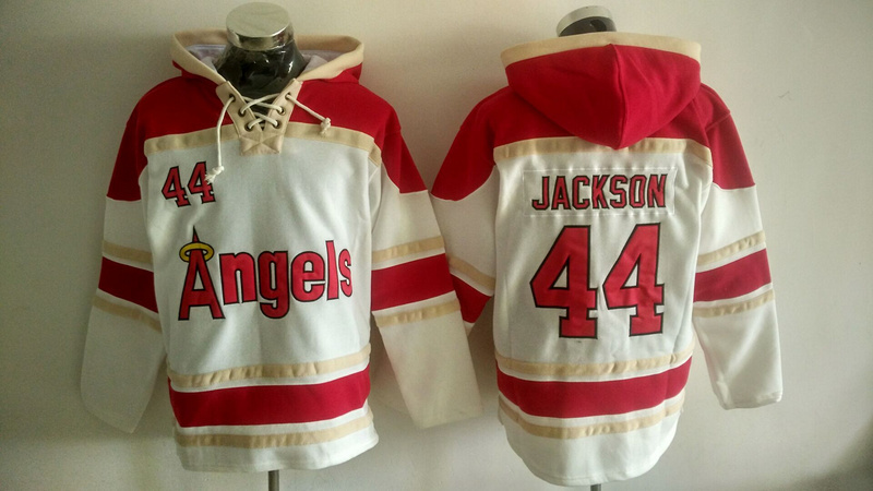 Angels 44 Reggie Jackson White All Stitched Sweatshirt