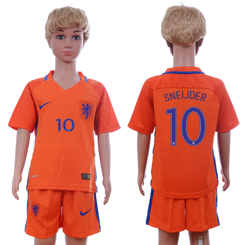 2016-17 Netherlands 10 SNEIJDER Home Youth Soccer Jersey