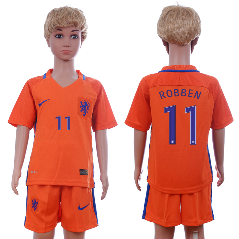 2016-17 Netherlands 11 ROBBEN Home Youth Soccer Jersey