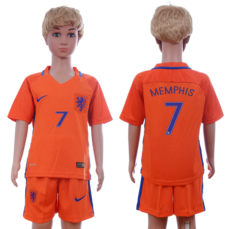 2016-17 Netherlands 7 MEMPHIS Home Youth Soccer Jersey