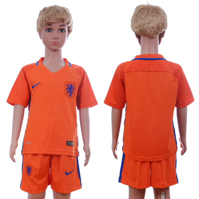 2016-17 Netherlands Home Youth Soccer Jersey