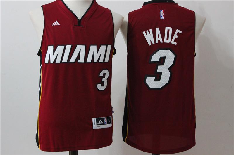 Heat 3 Dwayne Wade Red Swingman Jersey