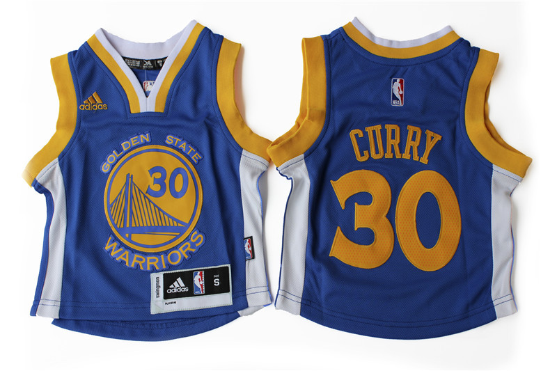 Warriors 30 Stephen Curry Blue Toddler Jersey