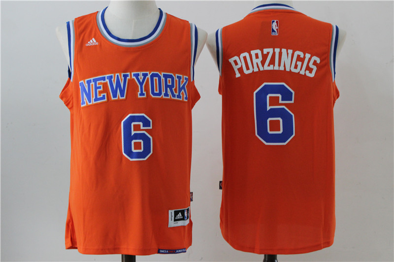 Knicks 6 Kristaps Porzingis Orange Swingman Jersey