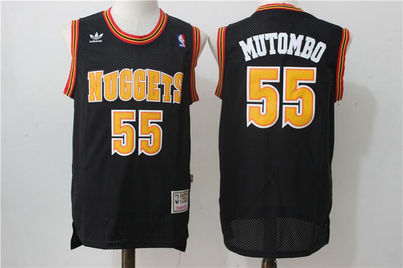 Nuggets 55 Dikembe Mutombo Black Hardwood Classics Jersey