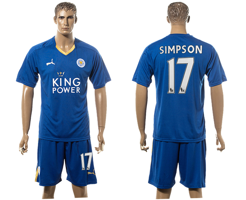 2015-16 Leicester City 17 SIMPSON Home Soccer Jersey