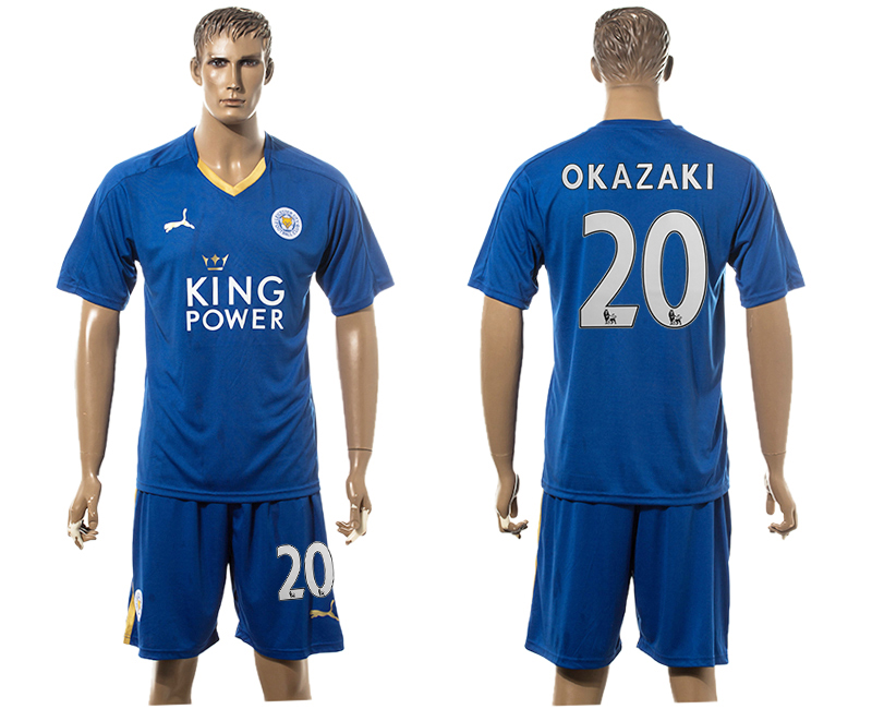 2015-16 Leicester City 20 OKAZAKI Home Soccer Jersey