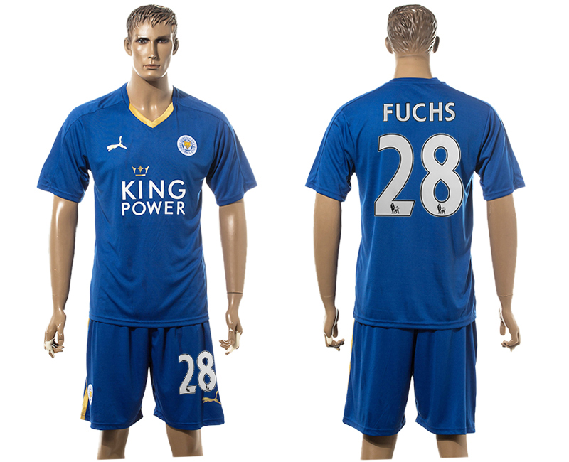 2015-16 Leicester City 28 FUCHS Home Soccer Jersey