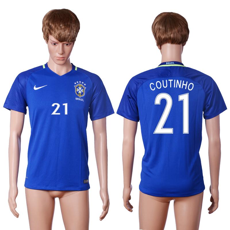 Brazil 21 COUTINHO Away 2016 Copa America Centenario Thailand Soccer Jersey