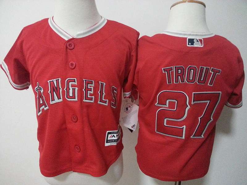 Angels 27 Mike Trout Red Toddler New Cool Base Jersey