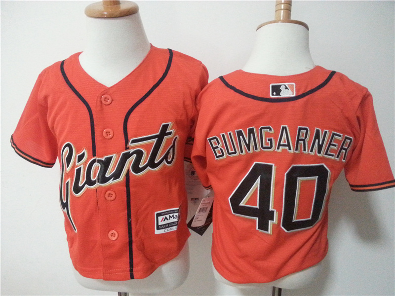 Giants 40 Madison Bumgarner Orange Toddler New Cool Base Jersey