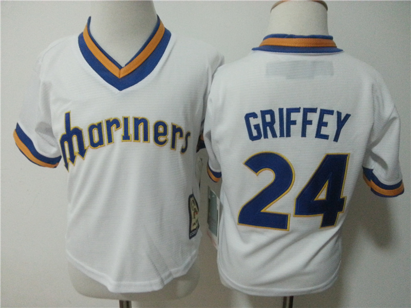 Mariners 24 Ken Griffey Jr. White Toddler New Cool Base Jersey
