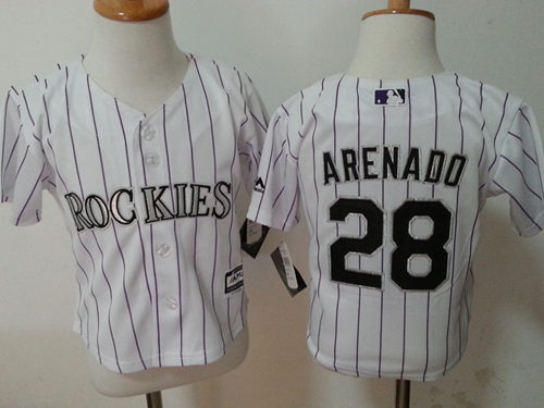 Rockies 28 Nolan Arenado White Toddler Jersey