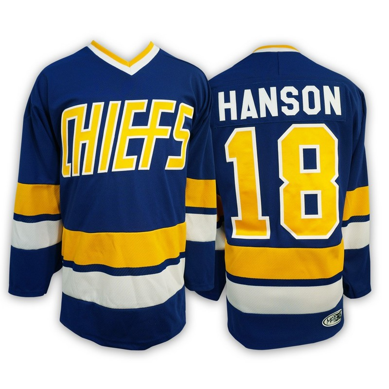 Hanson Brothers 18 Jeff Hanson Blue Stitched Movie Jersey