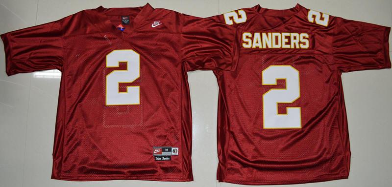 Florida State Seminoles (FSU) 2 Deion Sanders Red College Throwback Jersey