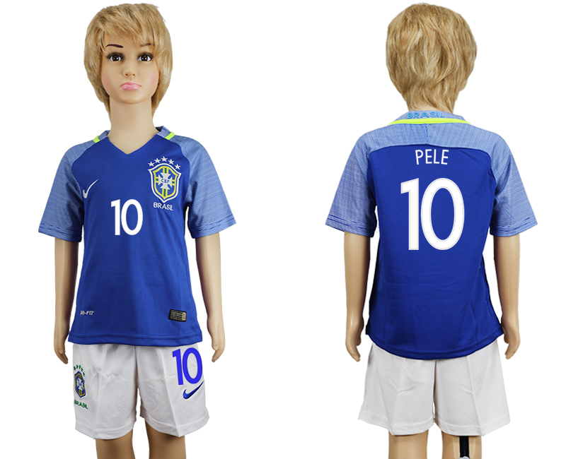 Brazil 10 PELE Away Youth 2016 Copa America Centenario Soccer Jersey