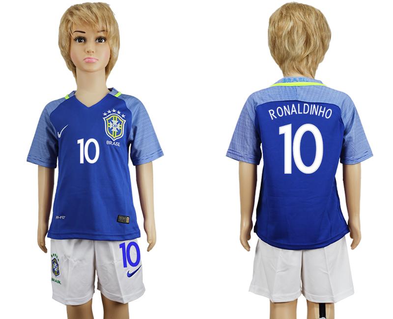 Brazil 10 RONALDINHO Away Youth 2016 Copa America Centenario Soccer Jersey