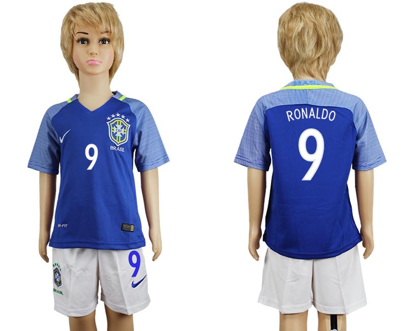 Brazil 9 RONALDO Away Youth 2016 Copa America Centenario Soccer Jersey