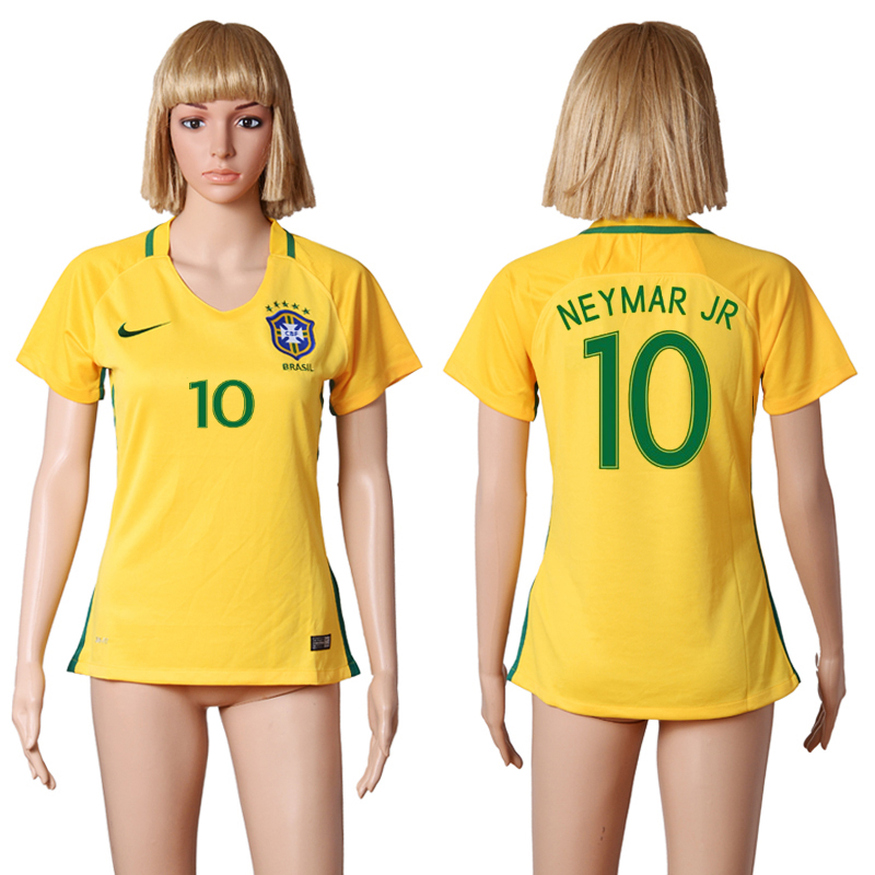 Brazil 10 NEYMAR JR Home Women 2016 Copa America Centenario Soccer Jersey