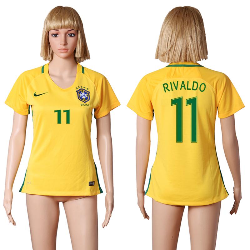 Brazil 11 RIVALDO Home Women 2016 Copa America Centenario Soccer Jersey