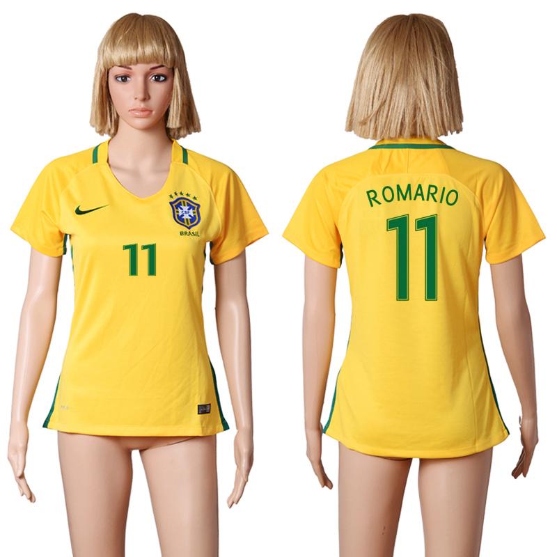 Brazil 11 ROMARIO Home Women 2016 Copa America Centenario Soccer Jersey