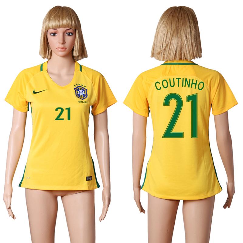 Brazil 21 COUTINHO Home Women 2016 Copa America Centenario Soccer Jersey