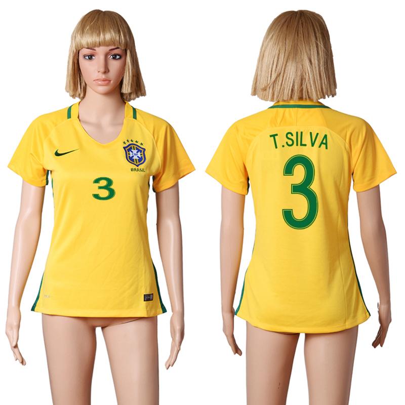 Brazil 3 T.SILVA Home Women 2016 Copa America Centenario Soccer Jersey