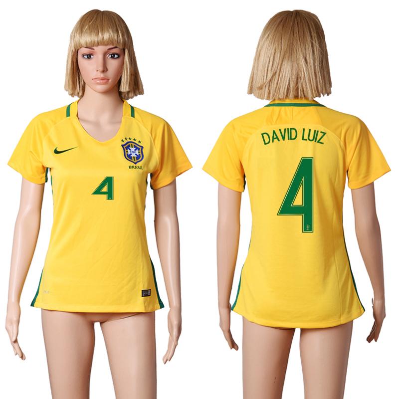 Brazil 4 DAVID LUIZ Home Women 2016 Copa America Centenario Soccer Jersey