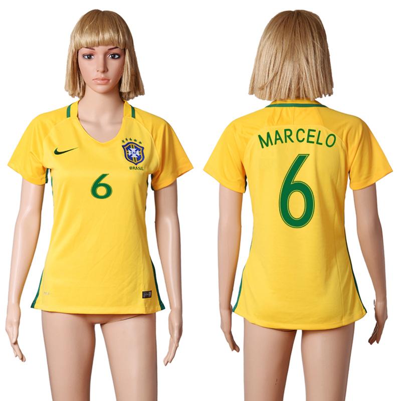 Brazil 6 MARCELO Home Women 2016 Copa America Centenario Soccer Jersey
